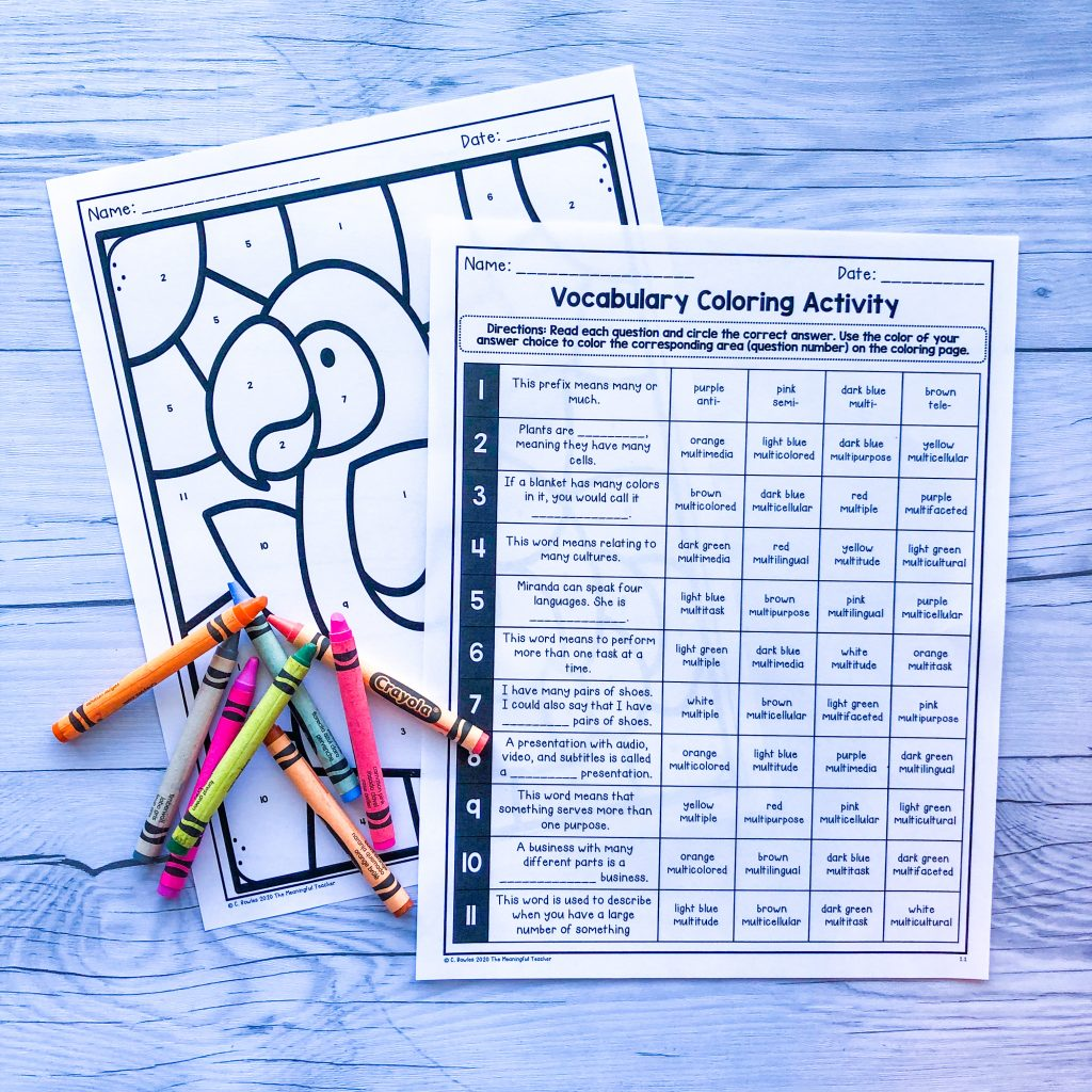 vocabulary practice coloring worksheet for hybrid classroom instruction