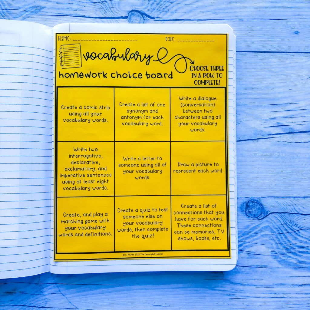 Vocabulary Homework Choice boards for teaching vocabulary in the hybrid classroom