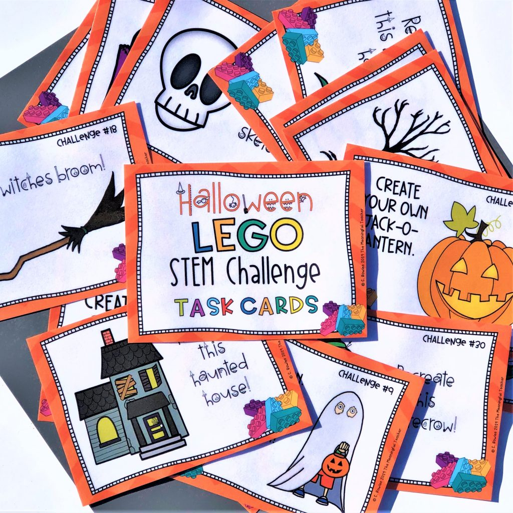 STEM Building Challenge task card activity Halloween themed
