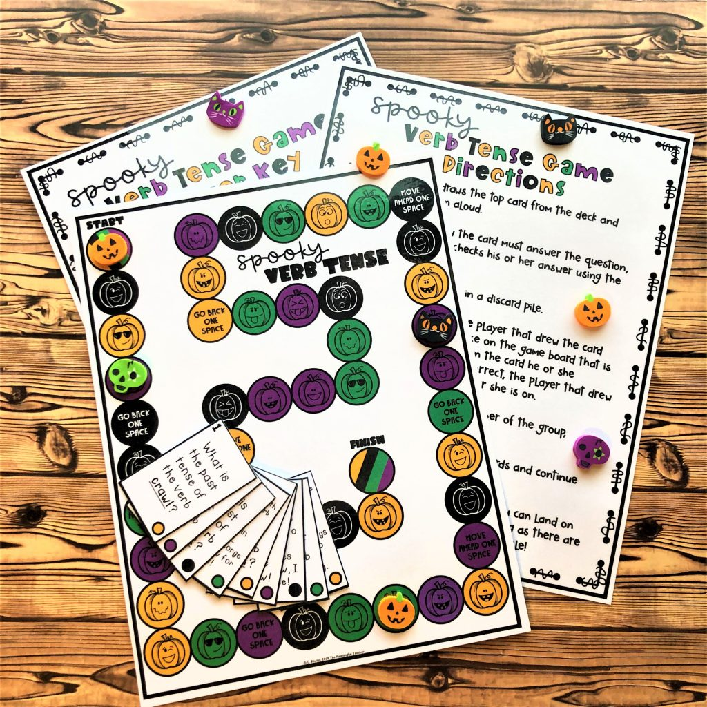 Verb tense halloween classroom activity