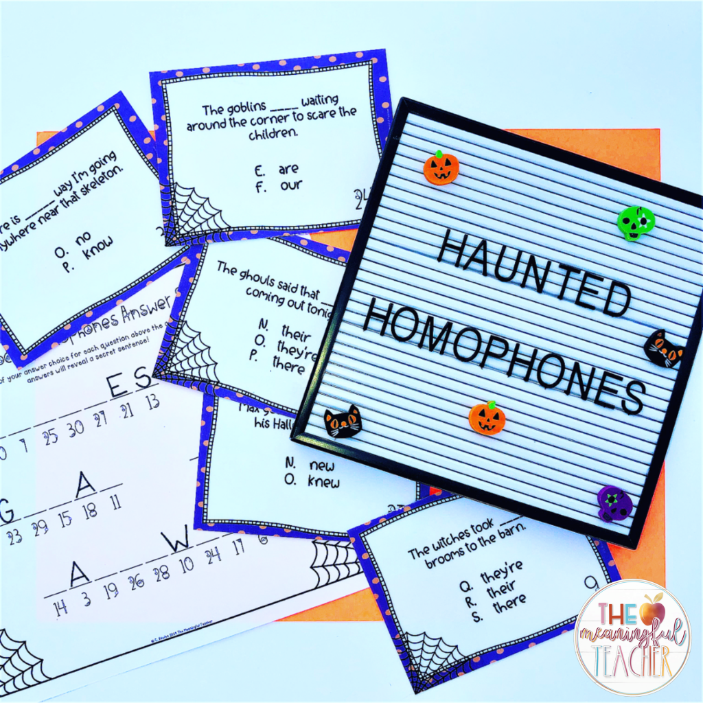 Halloween Classroom Activity for Homophones