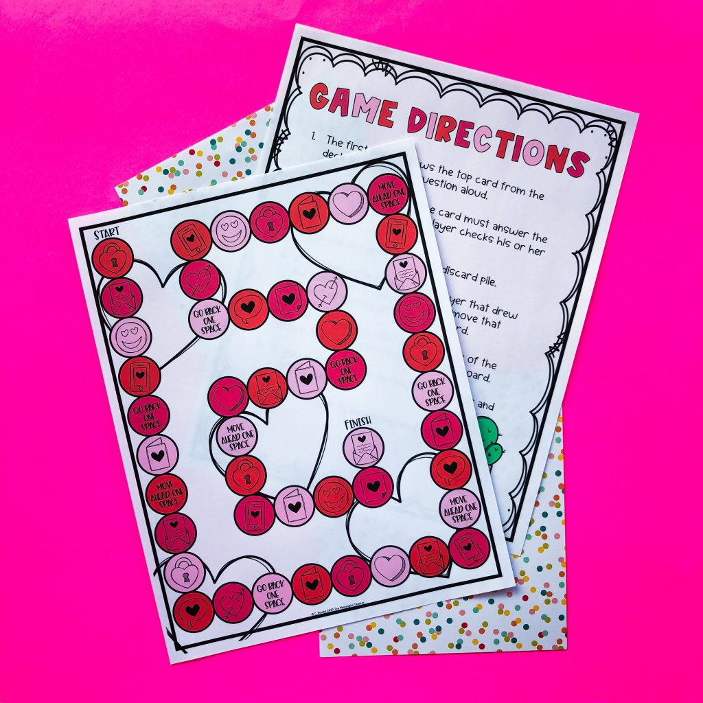 Valentine's Day activities for elementary students gameboard